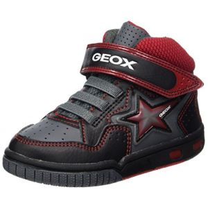 Geox Jr Gregg A, Baskets Hautes Garçon, Noir (Black/Red), 38 EU