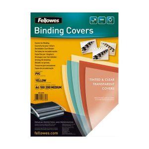 Fellowes 5377001 - Boîte de 100 couvertures PVC 200µ, A4, jaune translucide