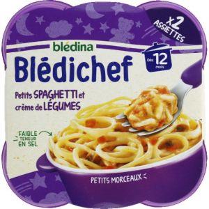 Blédina Bledichef 2x230g petits spaghetti et crème de légumes dès 12 mois