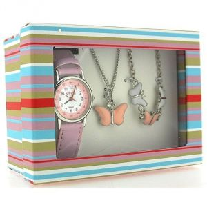 The Olivia Collection KS002 - Coffret montre pour fille avec pendentif et bracelet à papillons