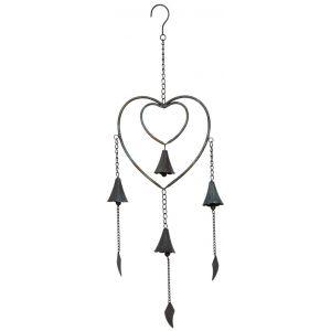 Aubry Gaspard Carillon en forme de coeur en métal noir