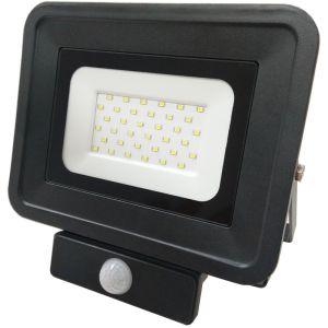 Optonica Projecteur Led Noir 30W détecteur Ultra-fin Classique 2 Blanc Chaud