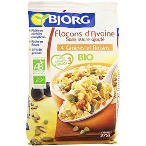 Bjorg Flocons d'avoine, 4 graines et raisins, certifié AB - Le paquet de 375g