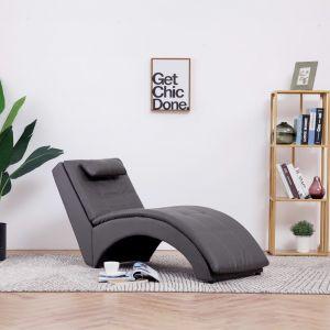 VidaXL Chaise longue avec oreiller Gris Similicuir