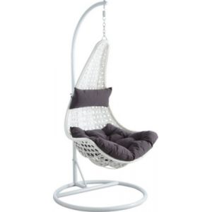 Aubry Gaspard Balancelle sur pied en polyrésine et acier blanc Blanc et Gris -