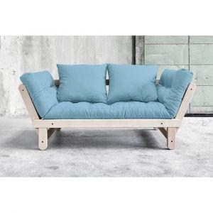 Inside75 Banquette méridienne convertible futon bleu celeste BEAT BEECH couchage 75*200cm