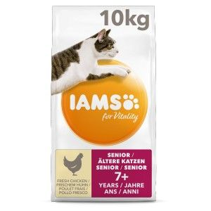 IAMS For Vitality Senior Cat Food with Fresh Chicken for Older Cats of 7+ years, 3 kg