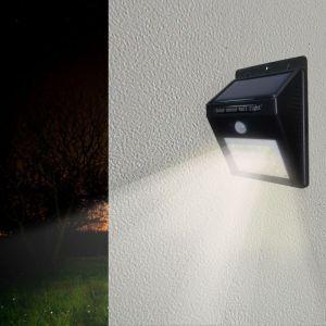 Silamp Applique Murale Solaire LED Noire 0.75W IP54 avec Détecteur de Mouvement - Blanc Froid 6000K - 8000K
