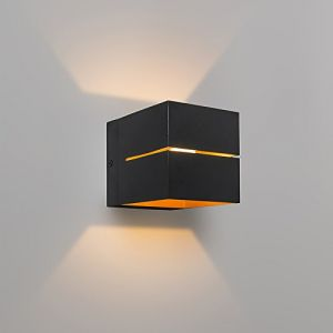 Qazqa Design/Industriel / Moderne/Applique murale Transfer noire/or Aluminium Cube/Carré / G9 Max. 1 x 40 Watt/Luminaire / Lumiere/Éclairage / intérieur/Chambre á coucher/Cuisine