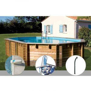 Sunbay Kit piscine bois Vermela 6,72 x 4,72 x 1,46 m + Alarme + Kit d'entretien + Douche