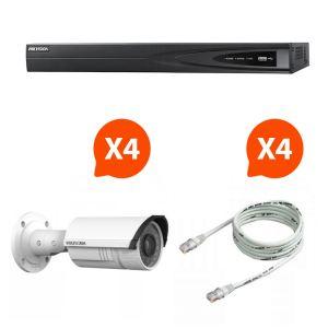 Hik vision KITNVR4BULL2 - Kit de vidéosurveillance NVR avec 4 mini caméras HD