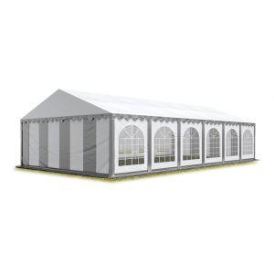 Intent24 TOOLPORT Tente Barnum de Réception 6x12 m ignifugee PREMIUM Bâches Amovibles PVC 500 g/m² gris-blanc Cadre de Sol Jardin.FR