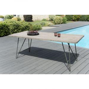 LesTendances Table rectangulaire teck massif et acier Elio