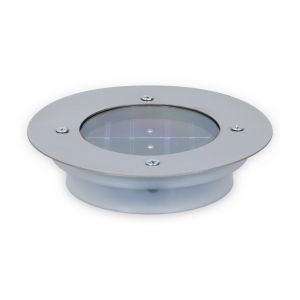 Grundig Spot solaire pour le sol LED rond en acier inoxydable 14 cm argent