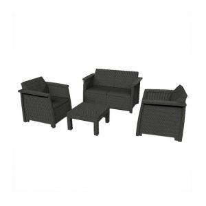 salon de jardin resine gris anthracite comparer 89 offres. Black Bedroom Furniture Sets. Home Design Ideas