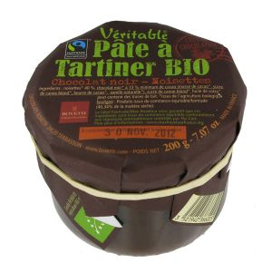 Bovetti chocolats Pâte à tartiner chocolat noir noisettes 200g
