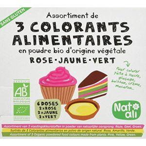 Natali NAT-ALI Etui 3 Colorants Alimentaires en Poudre Bio - 3 x 10 g