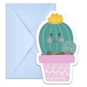 Procos 6 invitations et 6 enveloppes Cactus
