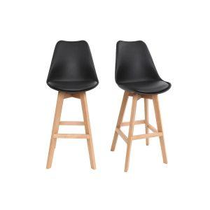 Miliboo Tabouret : Lot de deux tabourets de bar design noir et bois 75cm PAULINE
