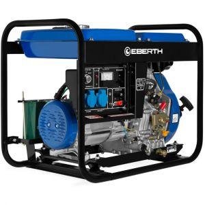 Diesel 5000 Watt Générateur (Démarrage électrique, Moteur 10 CV, 4 temps, Monophasé, 2x 230V, 1x 12V, voltmètre) - EBERTH