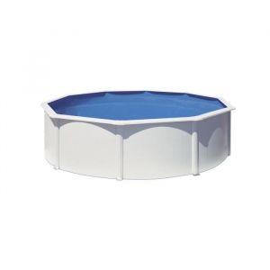 Gre Piscine hors-sol acier ronde blanche de Ø4,80m x H: 1,22m - Filtration à Aqualoon 4m³/h