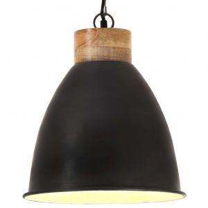 VidaXL Lampe suspendue industrielle Noir Fer et bois solide 35 cm E27