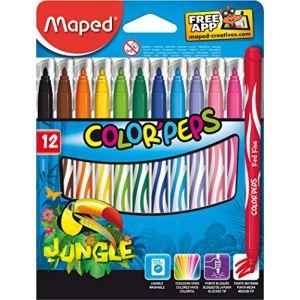 Maped Etui en carton de 12 feutres Color'Peps Jungle
