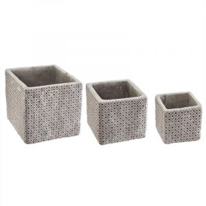 """Lot de 3 Cac Pots Ciment """"Dolce"""" 14cm Violet Prix"""