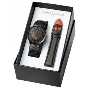 Pierre Lannier Coffret 371D439 - FFBB Montre Boîtier acier noir poli cadran gris bracelet milanais cuir noiret orange Homme