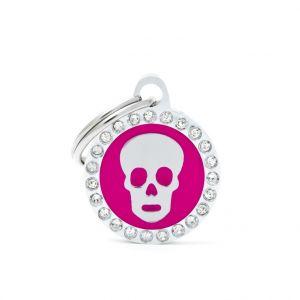 Myfamily Médaille glam petit cercle rose avec tête de mort