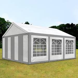 Intent24 TOOLPORT Tente de Réception 3x6 m Toile de Haute qualité 240g/m² PE Gris-Blanc Construction en Acier Galvanisé avec raccordement par vissage
