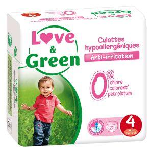 Love & Green Pack de 20 culottes hypoallergéniques Taille 4