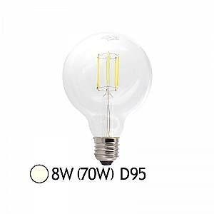 Vision-El Ampoule Led 8W (70W) FILAMENT E27 Globe clair D95 Blanc jour 4000°K