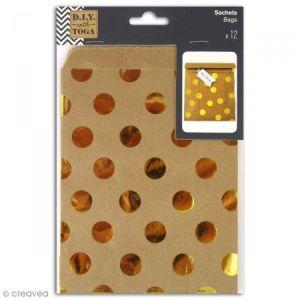 Toga Lot de 12 sachets papier kraft - 13x18 cm - pois or