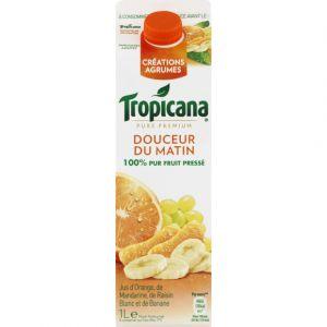 Tropicana Pur jus pressé d'orange, mandarine, banane et raisin blanc, Douceur du matin - La brique de 1L