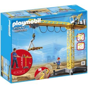 Playmobil 5466 City Action - Grande grue de chantier commandée par infrarouge