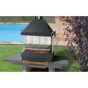Ferlux Fiesta - Barbecue à charbon en acier avec élévateur et cheminée