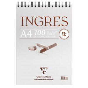 Clairefontaine 96477C - Bloc spiralé de 100 feuilles de papier vergé Ingres Etude ivoire, 80 g/m², A4