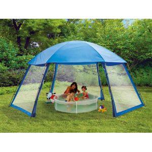 Habitat et Jardin Abri de piscine en polyester 3 portes 6 x 5.2 x 2.8 m