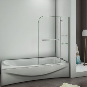 AICA Sanitaire Pare baignoire 120x140cm verre anticalcaire écran de baignoire avec les étages en verre securit