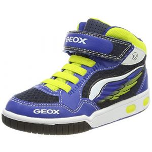 Geox Jr Gregg A, Baskets Hautes Garçon, Bleu (Royal/Lime), 37 EU