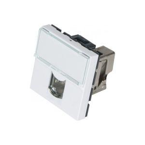 MCAD Plastron mosaïc 45x45 RJ-45 Cat.6a FTP - Prise avec connecteur LCS a connexion rapide- Pour cable monobrin AWG 22 a 26- Pour cable multibrins AWG 26- Reperage des contacts 568 A et B