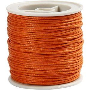 Creotime Fil de coton ciré - Orange - 1 mm x 40 m
