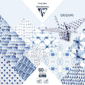 Clairefontaine Pochette 60 Feuilles Origami 15x15 cm - Shibori Camaieu bleus