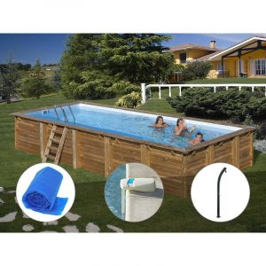 Sunbay Kit piscine bois Braga 8,00 x 4,00 x 1,46 m + Bâche à bulles + Alarme + Douche