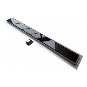Caniveau de sol grand débit pour douche italienne GL01 - grille en verre noir - Longueur sélectionnable: 700mm