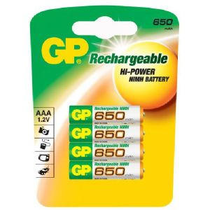 GP Blister de 4 piles rechargeables AAA 650 mAh NiMH