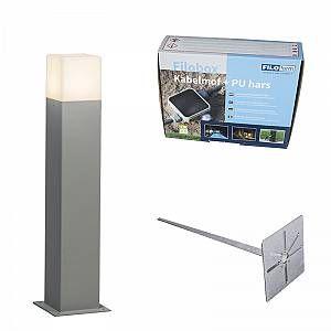Qazqa Lampe extérieure P50 gris avec piquet de terre manchon de câble - Denmark