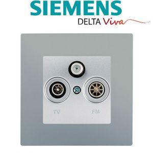 Siemens Prise TV FM SAT Silver Delta Viva + Plaque Silver
