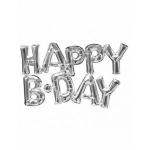 Ballon aluminium lettres Happy Birthday argent (78 cm)